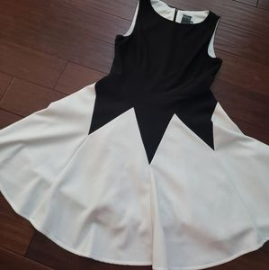 Black & Off White Fitted Flare Dress